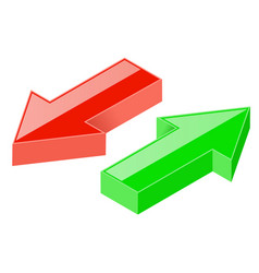 3d arrows green and red icons vector