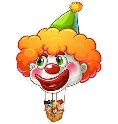 A clown balloon carrying kids vector image