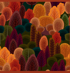 abstract seamless pattern with autumn forest vector image