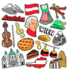 Austria Travel Scrapbook Stickers Patches Badges vector