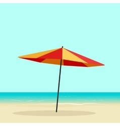Beach umbrella on seaside sea coast with vector