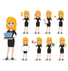 beautiful blonde business woman set vector image