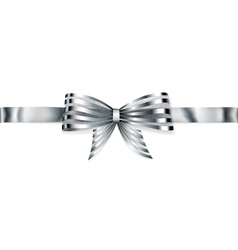 Beautiful striped silver shiny bow vector