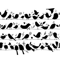 Birds family seamless pattern for your design vector