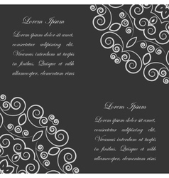 Black background with white ornate pattern vector image