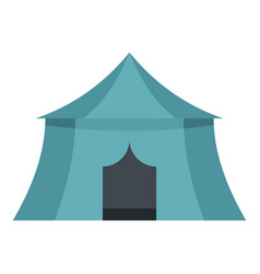 Blue yellow tourist tent for travel camping icon vector