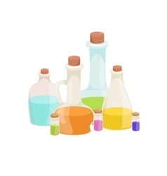 Bottles with organic essential aroma oil and soap vector image