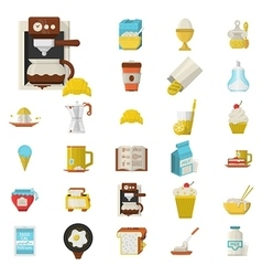 Breakfast flat color icons set vector image