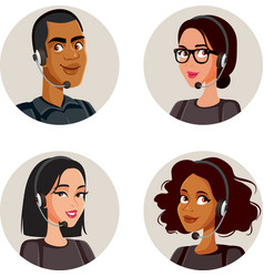Call center agents avatars collection set vector