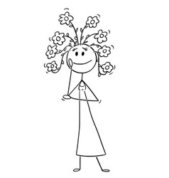 cartoon of woman with flowers growing from his vector image