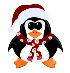 Cartoon penguin with Christmas hat and scarf vector image