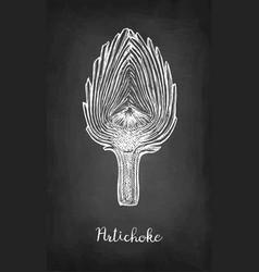 Chalk sketch of sliced artichoke vector