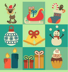Christmas decoration icons elements vector