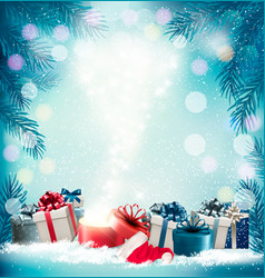 Christmas holiday background with 2018 and magic vector