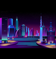 City megapolis on river at night vector