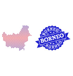Composition of gradiented dotted map of borneo vector