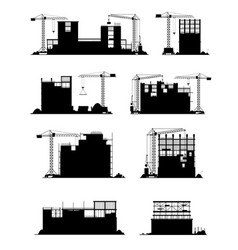 Construction site silhouettes building equipment vector