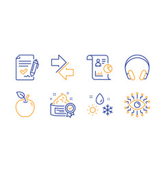 Cream weather and approved agreement icons set vector