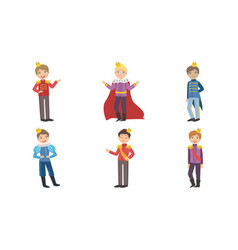 cute little boys wearing prince costumes with vector image