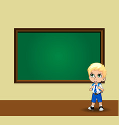 cute schoolboy in uniform standing near vector image