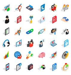 Database shield icons set isometric style vector
