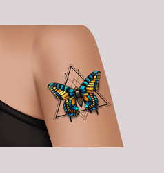Decorative tattoo on female arm butterfly tattoo vector