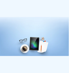 Devices for working in internet flat lay vector