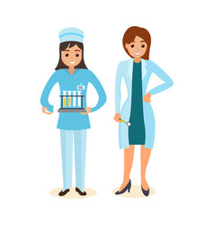 Doctor and therapist standing beside nurse vector