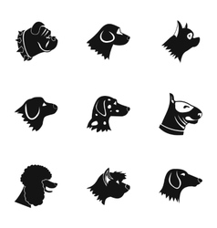 Dog icons set simple style vector image vector image