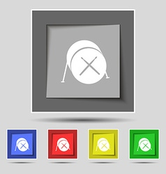 Drum icon sign on original five colored buttons vector