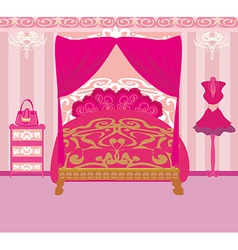 elegant pink bedroom vector image