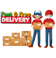 Fast and free delivery logo with courier vector