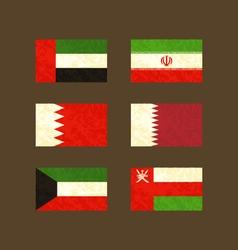 Flags of UAE Iran Bahrain Qatar Kuwait and Oman vector image