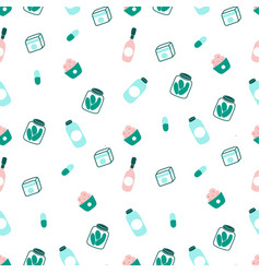 Food and drinks flat seamless pattern vector
