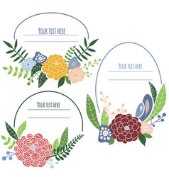 four floral frames with place for text vector image