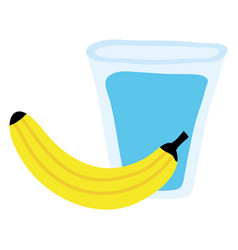 fresh banana fruit with glass water vector image