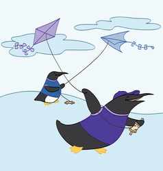 Friends flying kites vector