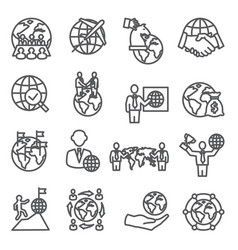 global business line icons set on white background vector image