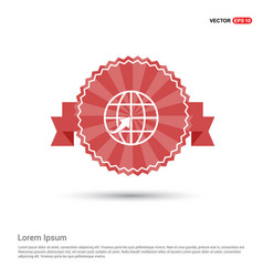 Globe icon - red ribbon banner vector