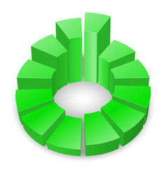 green circular diagram with columns isolated on vector image