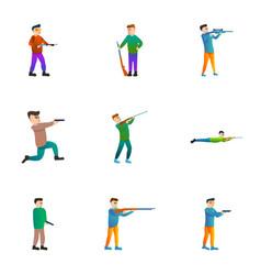 Gun shooter icon set cartoon style vector
