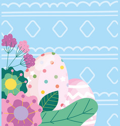 happy easter dotted and lined eggs flowers leaves vector image
