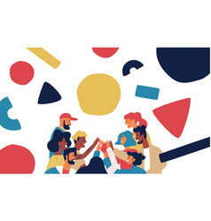 happy friend group high five with geometry shapes vector image