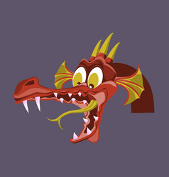 Head of cartoon dragon with open mouse the vector