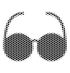 Hexagon halftone spectacles icon vector