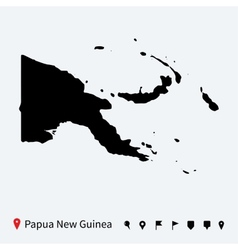 High detailed map of Papua New Guinea with pins vector