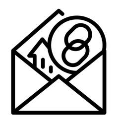 Hyperlink mark in envelope icon outline style vector