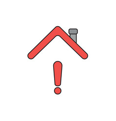 icon concept exclamation mark under house roof vector image
