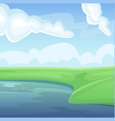Landscape a green summer field with a lake vector