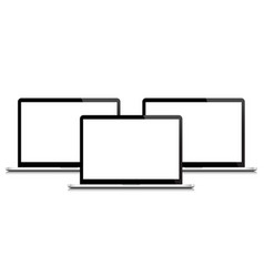 laptops with blank white screens isolated 3d vector image